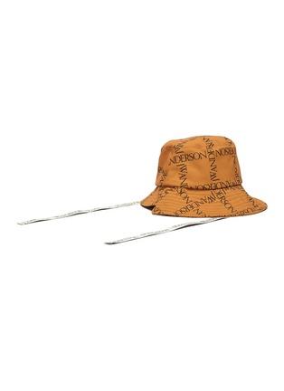 Figure View - Click To Enlarge - JW ANDERSON - Asymmetric Logo Grid Drawstring Bucket Hat