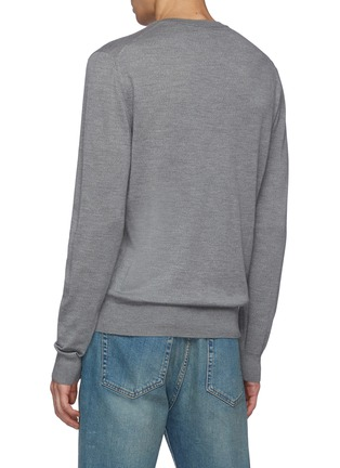 Back View - Click To Enlarge - ISAIA - V Neck Long Sleeved Wool Sweater