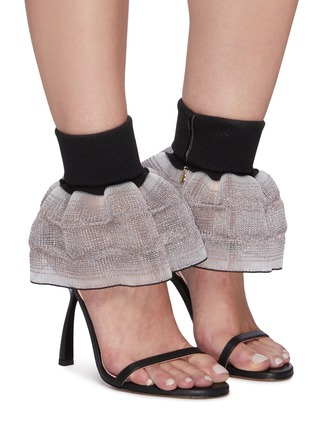 Figure View - Click To Enlarge - PIFERI - Fantasia' Tulle Ankle Strap Vegan Leather Sandals