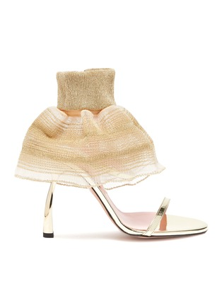 Main View - Click To Enlarge - PIFERI - Fantasia' Tulle Ankle Strap Vegan Leather Sandals