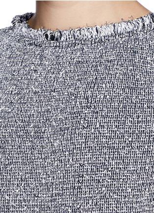 Detail View - Click To Enlarge - ST. JOHN - Paper eyelet fringe tweed knit dress