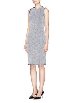 Front View - Click To Enlarge - ST. JOHN - Paper eyelet fringe tweed knit dress