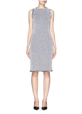 Main View - Click To Enlarge - ST. JOHN - Paper eyelet fringe tweed knit dress