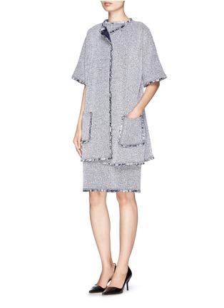 Figure View - Click To Enlarge - ST. JOHN - Paper eyelet fringe tweed knit dress