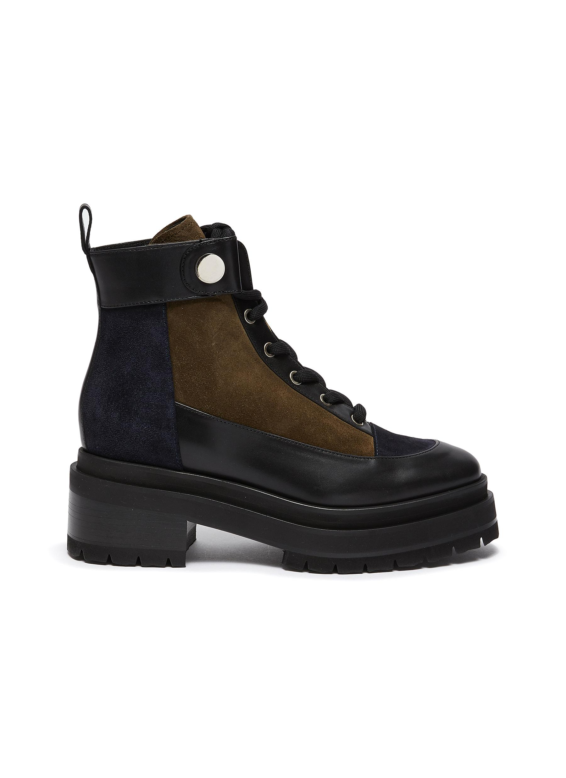 Leather and Suede Penny Lace Up Combat Boots - PIERRE HARDY - Modalova