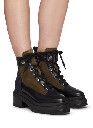 Figure View - Click To Enlarge - PIERRE HARDY - Leather and Suede Penny Lace Up Combat Boots