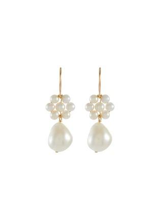 Main View - Click To Enlarge - POPPY FINCH - Flower Pearl Baroque Dangle Earrings