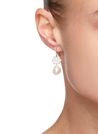 Figure View - Click To Enlarge - POPPY FINCH - Flower Pearl Baroque Dangle Earrings