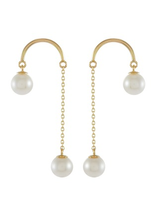 Main View - Click To Enlarge - POPPY FINCH - Crescent Hi-Lo Pearl 14k Gold Earrings