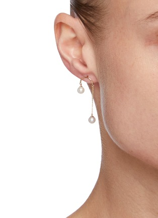 Figure View - Click To Enlarge - POPPY FINCH - Crescent Hi-Lo Pearl 14k Gold Earrings