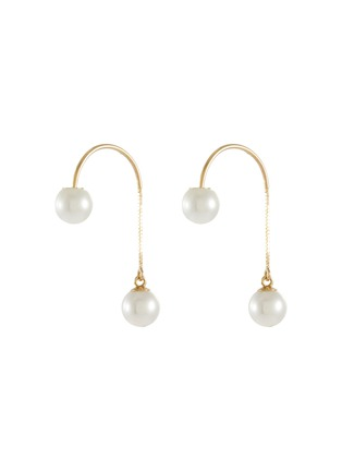 Main View - Click To Enlarge - POPPY FINCH - Double Pearl Threader 14k Gold Earrings