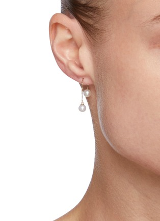 Figure View - Click To Enlarge - POPPY FINCH - Double Pearl Threader 14k Gold Earrings