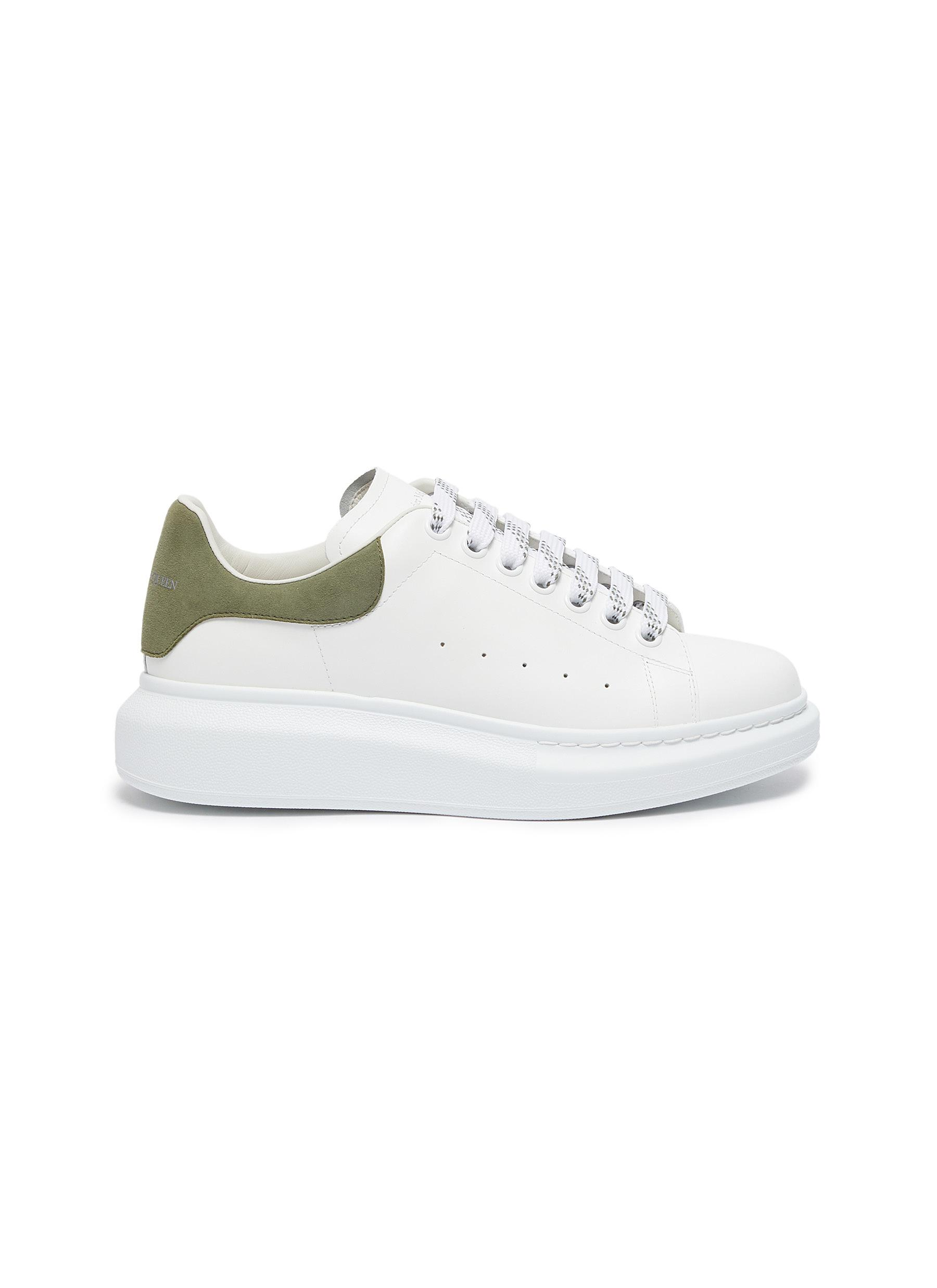 Oversized Sneakers' in Leather with Suede Heel Tab