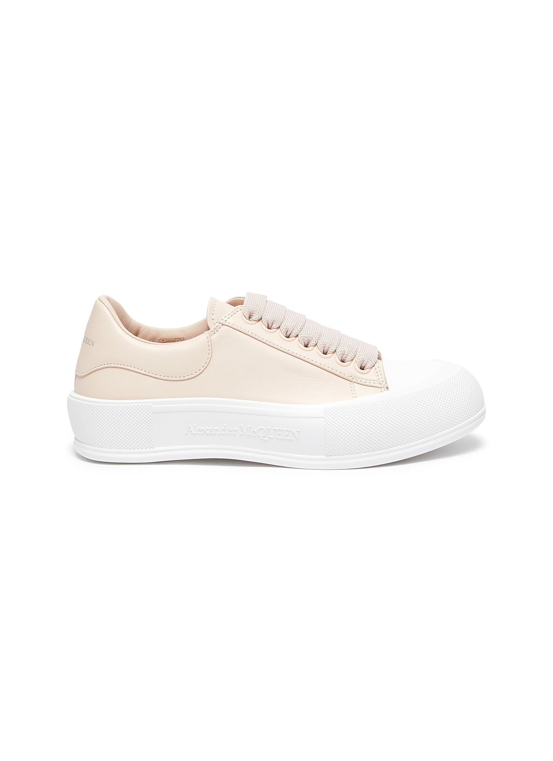 Deck Plimsoll' Low Top Leather Sneakers