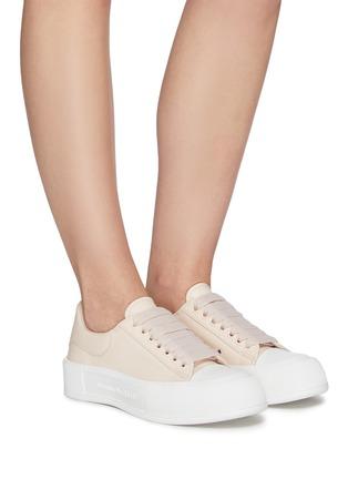 Figure View - Click To Enlarge - ALEXANDER MCQUEEN - Deck Plimsoll' Low Top Leather Sneakers