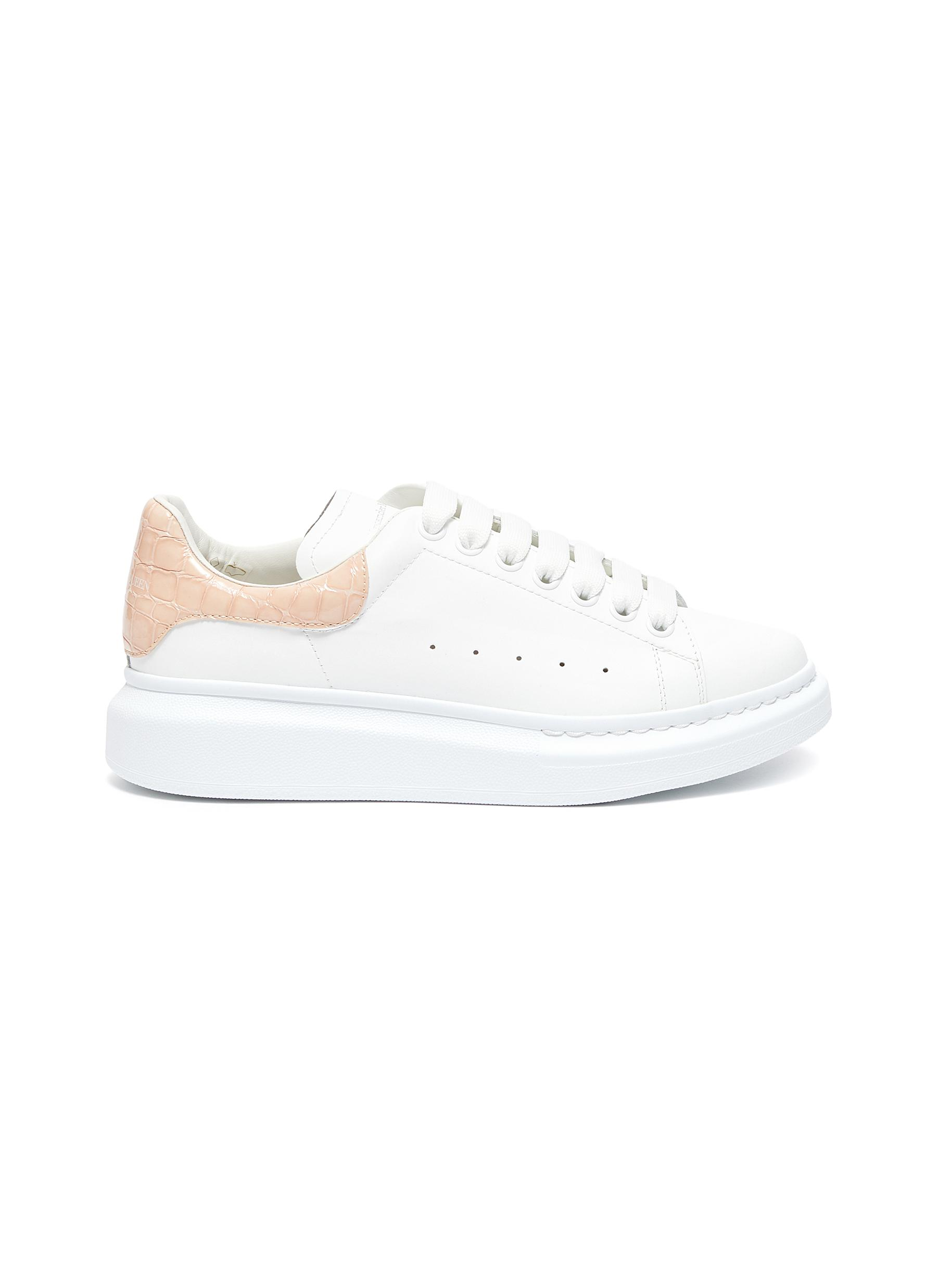 Oversized Sneakers' in Leather with Croc-embossed Heel Tab