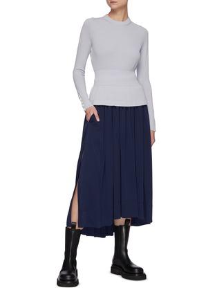 Figure View - Click To Enlarge - 3.1 PHILLIP LIM - Asymmetric Hem Shirred Midi Skirt