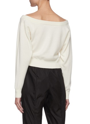 Back View - Click To Enlarge - ALEXANDERWANG - Cowl Neck Tulle Knit Sweater