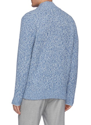 Back View - Click To Enlarge - BRUNELLO CUCINELLI - Zipped Ribbed Wool Cardigan