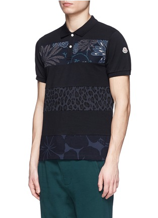 Front View - Click To Enlarge - Moncler - 'Maglia' floral leopard stripe polo shirt