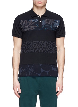 Main View - Click To Enlarge - Moncler - 'Maglia' floral leopard stripe polo shirt