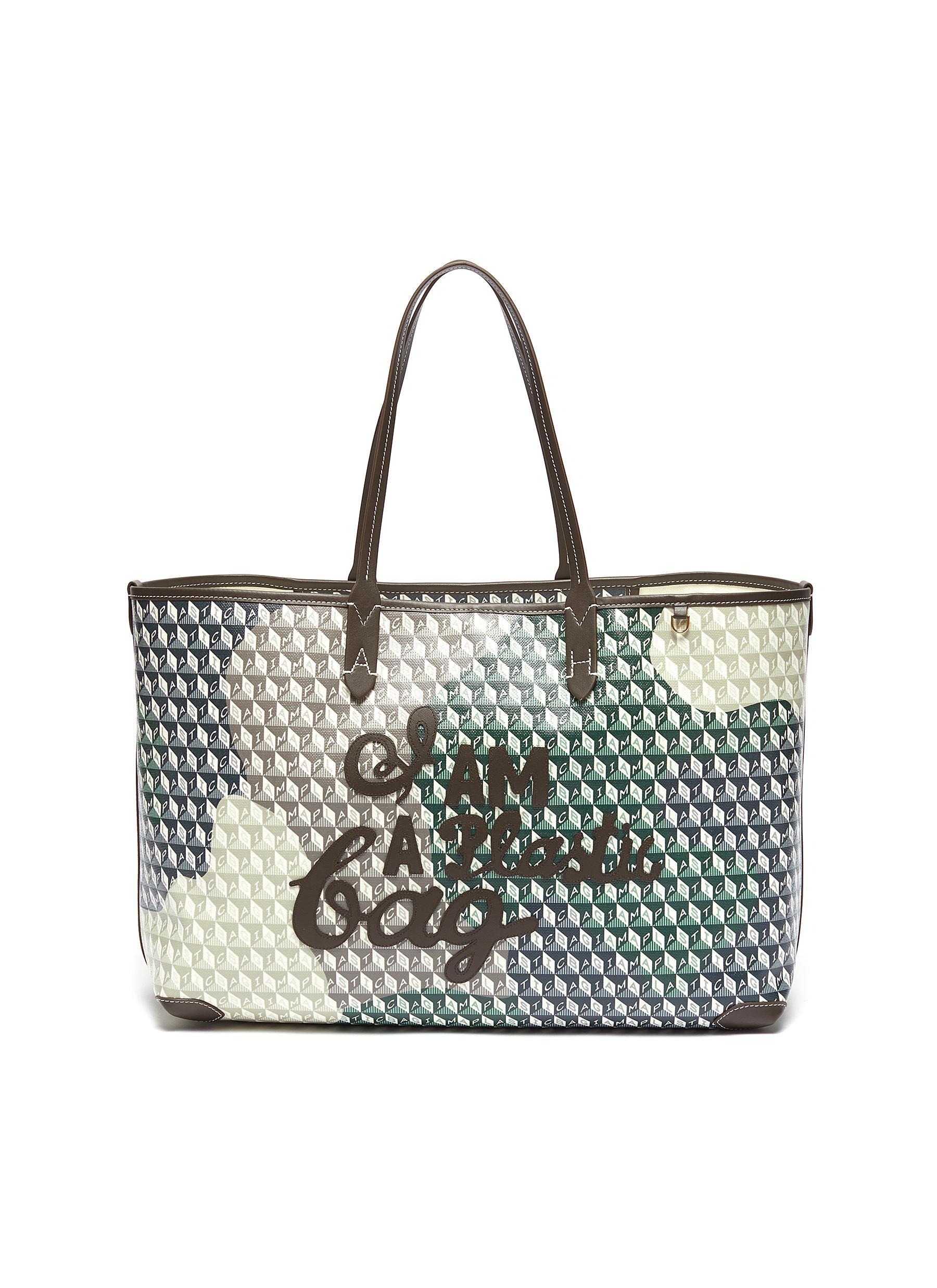 I Am A Plastic Bag' Logo Camouflage Recycle Canvas Tote - ANYA HINDMARCH - Modalova