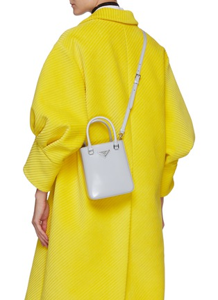 Figure View - Click To Enlarge - PRADA - Small Brushed Leather Tote Bag