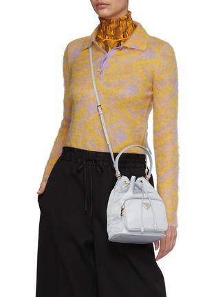 Front View - Click To Enlarge - PRADA - Duet Re-Nylon Bucket Shoulder Bag