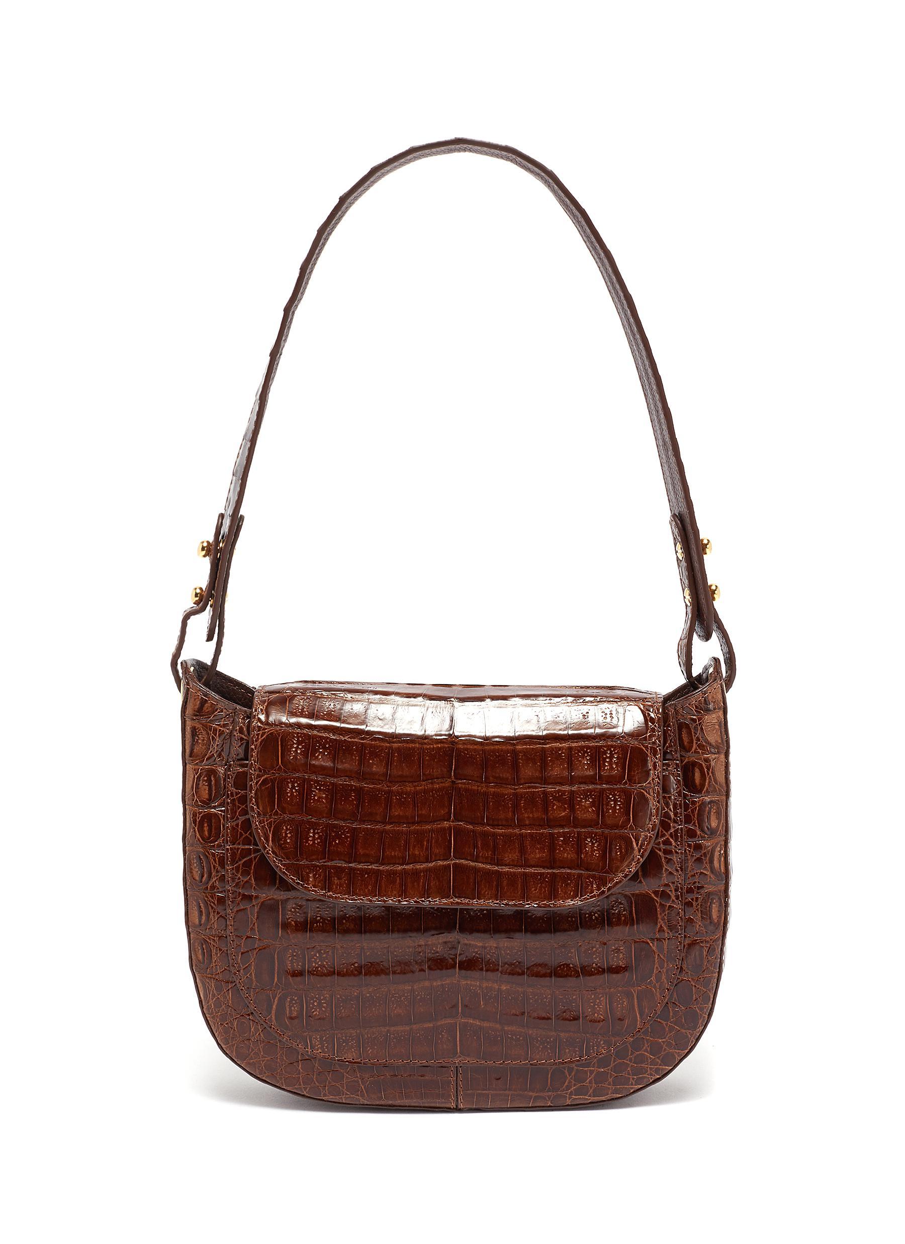 Olympia' Glaze Crocodile Leather Crossbody Bag