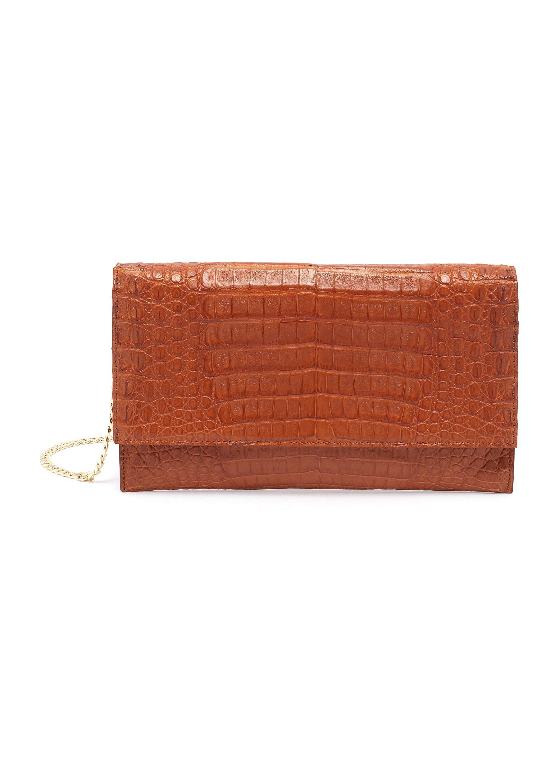 Sofia' Matte Crocodile Leather Clutch