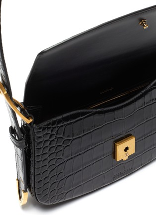 Detail View - Click To Enlarge - BALENCIAGA - Ghost Sling' Shiny Embossed Crocodile Leather Bag