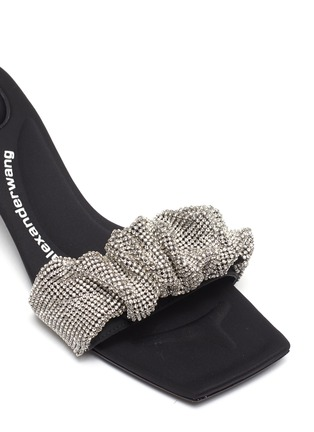 Detail View - Click To Enlarge - ALEXANDERWANG - Jessie' Crystal Scrunchie Leather Sandals