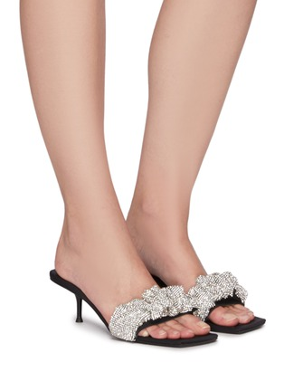 Figure View - Click To Enlarge - ALEXANDERWANG - Jessie' Crystal Scrunchie Leather Sandals