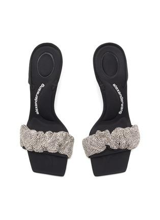 Detail View - Click To Enlarge - ALEXANDERWANG - Julie' Crystal Scrunchie Slingback Leather Sandals