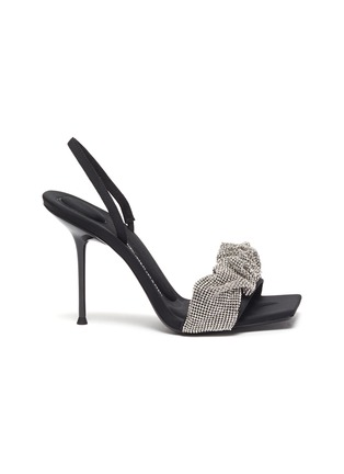 Main View - Click To Enlarge - ALEXANDERWANG - Julie' Crystal Scrunchie Slingback Leather Sandals