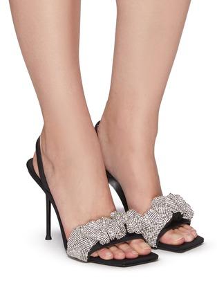 Figure View - Click To Enlarge - ALEXANDERWANG - Julie' Crystal Scrunchie Slingback Leather Sandals