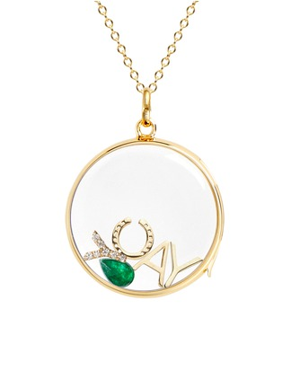 Figure View - Click To Enlarge - LOQUET LONDON - BIRTHSTONE CHARM - MAY 'SENDING LUCK' EMERALD