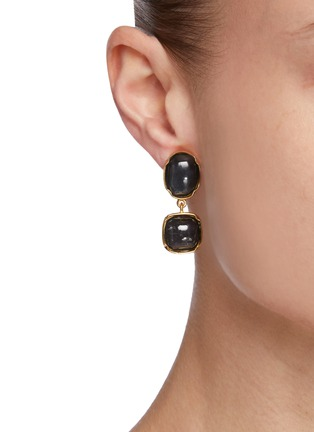 Figure View - Click To Enlarge - GOOSSENS - Cabochon Bead Clip Drop Earrings