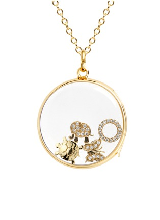 Figure View - Click To Enlarge - Loquet London - 18k yellow gold diamond circle charm - Give a Hug