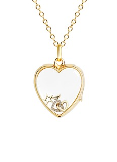 Loquet London 18k yellow gold diamond linked hearts charm - Always Together