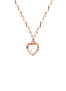 Loquet London 14k rose gold rock crystal heart locket - Small 12mm