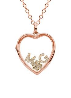 Loquet London 14k rose gold rock crystal heart locket - Large 22mm