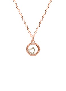 Loquet London 14k rose gold rock crystal round locket - Small 12mm