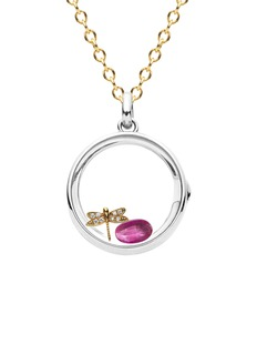 Loquet London 14k white gold rock crystal round locket - Medium 18mm