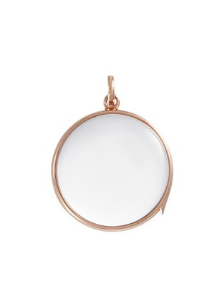 Main View - Click To Enlarge - Loquet London - 14k rose gold rock crystal round locket – Large 22mm