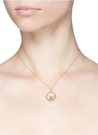 Detail View - Click To Enlarge - LOQUET LONDON - 14k yellow gold rock crystal round locket - Large 22mm