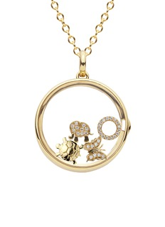 Loquet London 14k yellow gold rock crystal round locket - Large 22mm