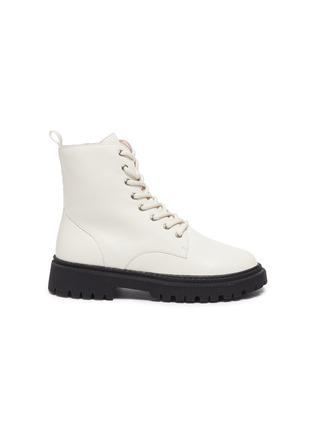 Main View - Click To Enlarge - WINK - Bon Bon' Kids Lace Up Side Zipper Leather Combat Boots