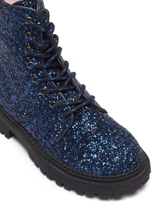 Detail View - Click To Enlarge - WINK - Bon Bon' Kids Lace Up Side Zipper Glitter Combat Boots