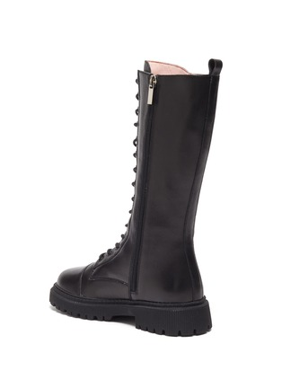 Detail View - Click To Enlarge - WINK - Popsicle' Kids Lace Up Zipper Tall Leather Boots